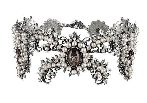 Ras de cou en métal orné de perles Chanel Métiers d'art Paris-Salzbourg 2014/2015
