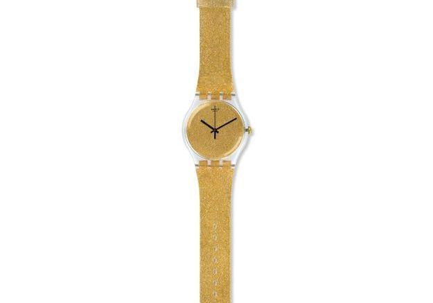 Montre dorée Swatch