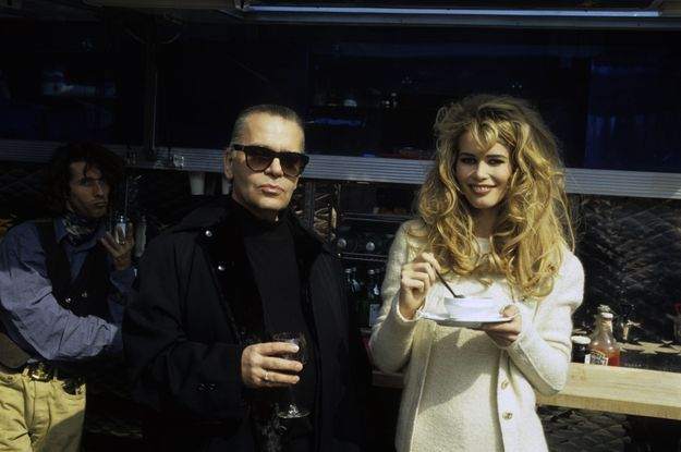 Claudia Schiffer et Karl Lagerfeld