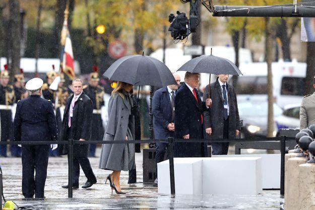 La frist lady affronte la pluie