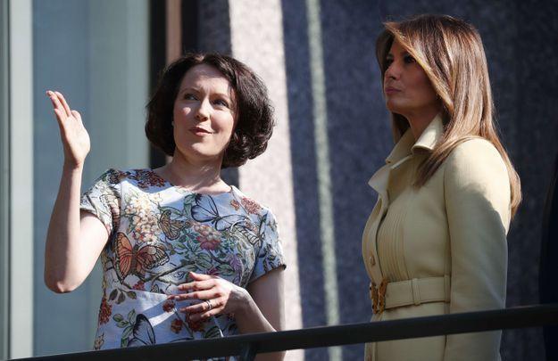 Melania Trump au côté de Jenni Haukio, la femme de Sauli Niinisto président de Finlande
