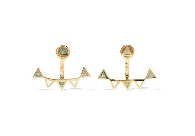 Boucles d'oreille dorées et opales, Noir Jewelry