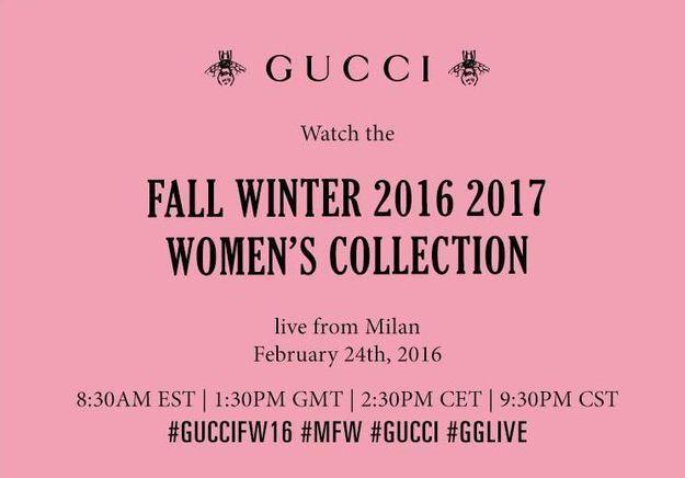 Fashion Week : suivez le défilé Gucci en direct à 14h30