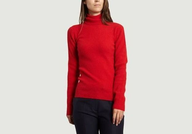 Pull col roulé rouge Cacharel