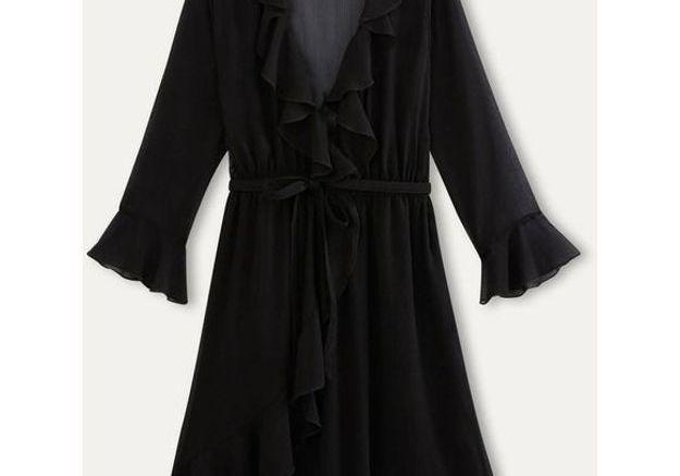 Robe noire cache cœur Maison Scotch