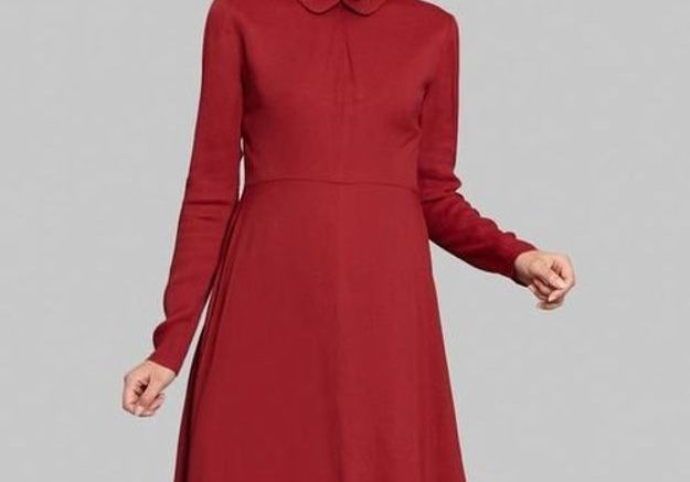 Robe rouge à col claudine Sonia by Sonia Rykiel