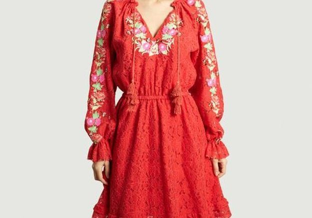 Robe rouge brodée Manoush