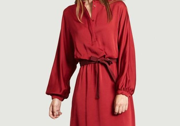 Robe rouge en satin Tara Jarmon