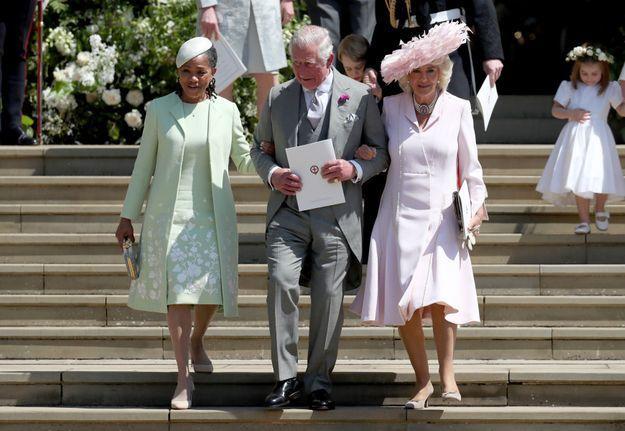 Doria Ragland en robe vert d'eau et Camilla Parker-Bowles en robe rose
