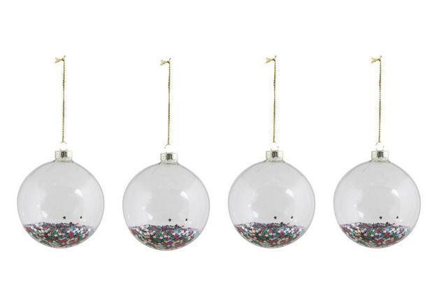 Boule de Noël en verre à paillettes