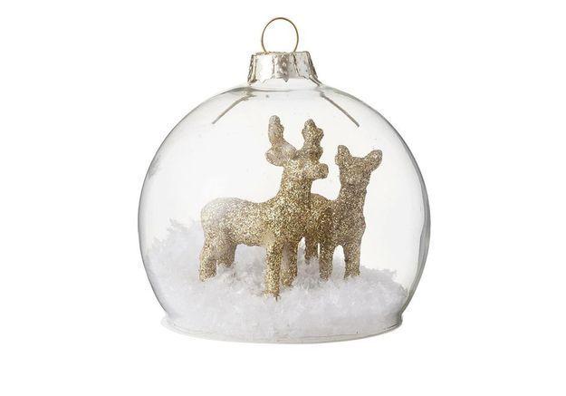 Boule de Noël en verre avec animaux
