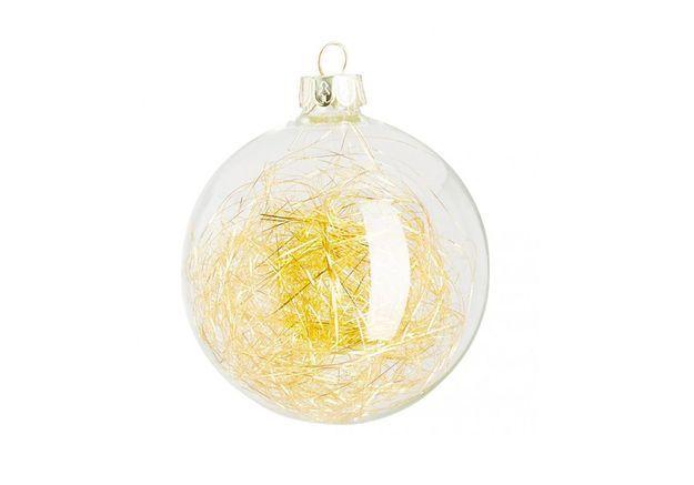 Boule de Noël en verre avec filaments dorés