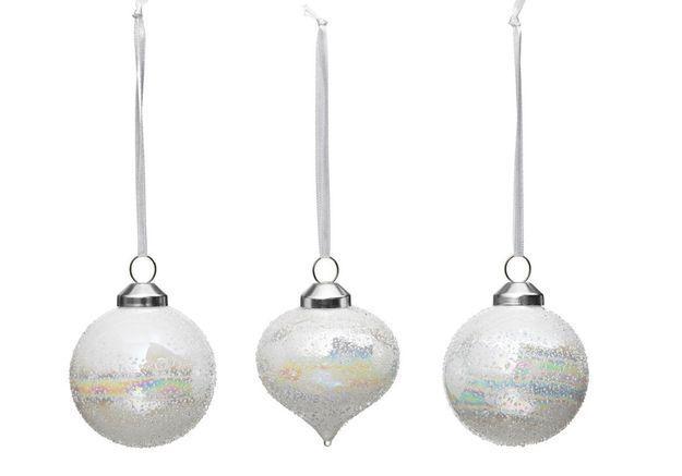 Boule de Noël en verre irisée