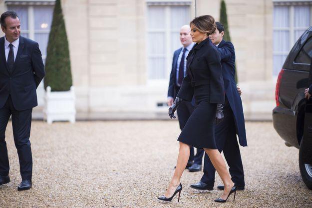 Melania Trump arrive à l'Elysée