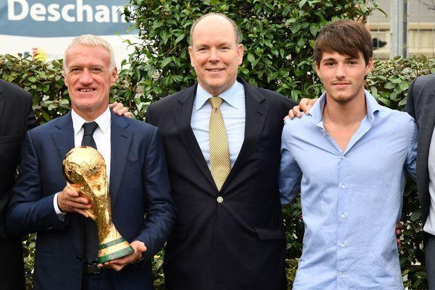 Didier Deschamps, le prince Albert de Monaco et Dylan Deschamps