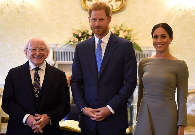 Le président irlandais Michael D. Higgins, le prince Harry et Meghan Markle