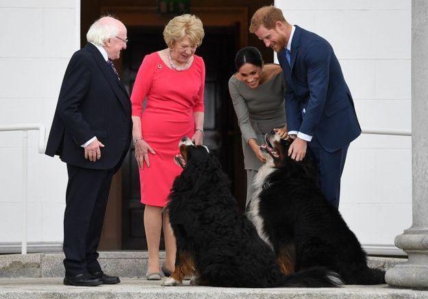 Meghan Markle en a profité pour caresser les chiens du couple présidentiel