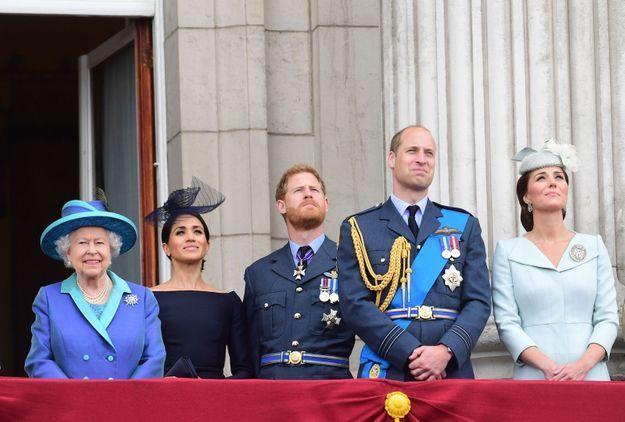 La reine Elizabeth II, Meghan Markle, le prince Harry, le prince William et Kate Middleton