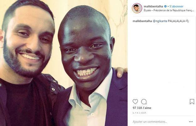 L'humoriste Malik Bentalha s'est offert un selfie avec N'Golo Kanté