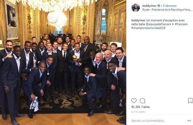Le judoka Teddy Riner était présent à l'Elysée pour féliciter les Bleus