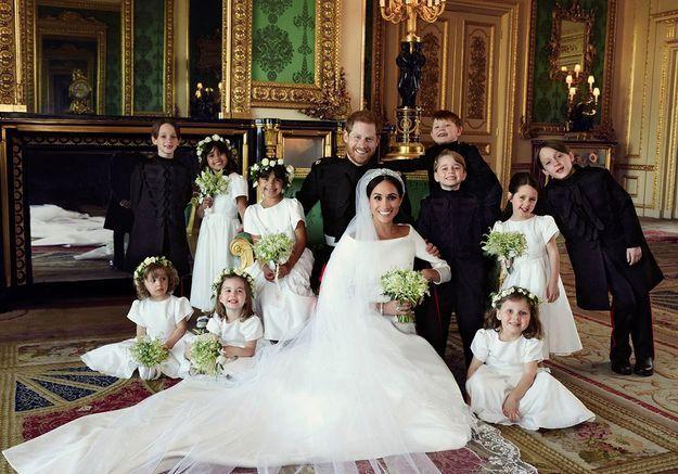 Meghan et Harry entourés de leurs enfants d'honneur