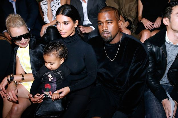 North West et ses parents au défilé Balenciaga à Paris en 2015
