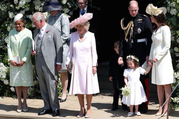 Doria Ragland, le prince Charles et sa compagne Camilla Parker, Kate Middleton, le prince William et leurs enfants
