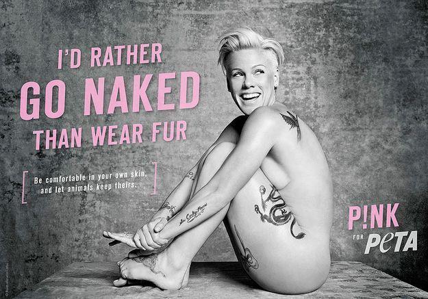 Pink pose nue pour la PETA