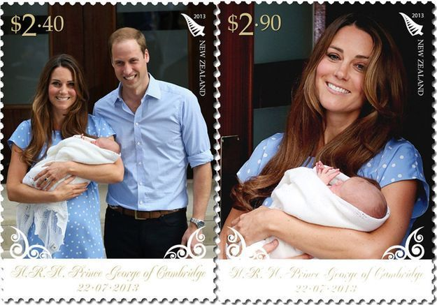 William, Kate et le Royal Baby s'affichent sur des timbres