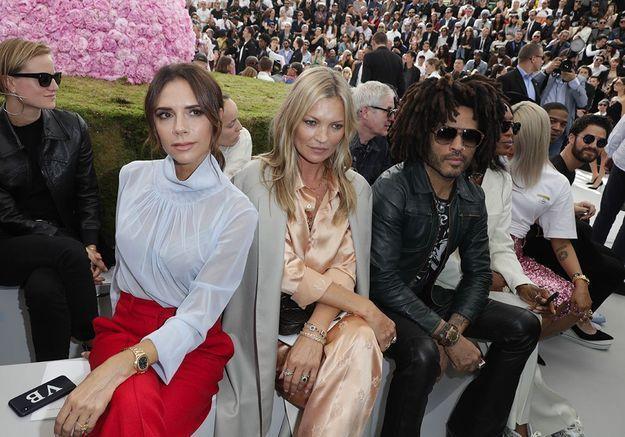 Victoria Beckham, Kate Moss et Lenny Kravitz au défilé Dior Homme