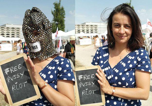 23 août 2012 Cécile Duflot encagoulée pour soutenir les Pussy Riot