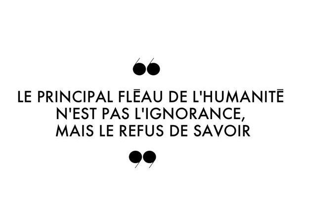 Le principal fléau de l'humanité n'est pas l'ignorance, mais le refus de savoir.