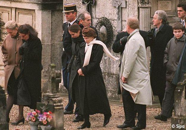 Danielle Mitterrand lors des obsèques de François Mitterrand
