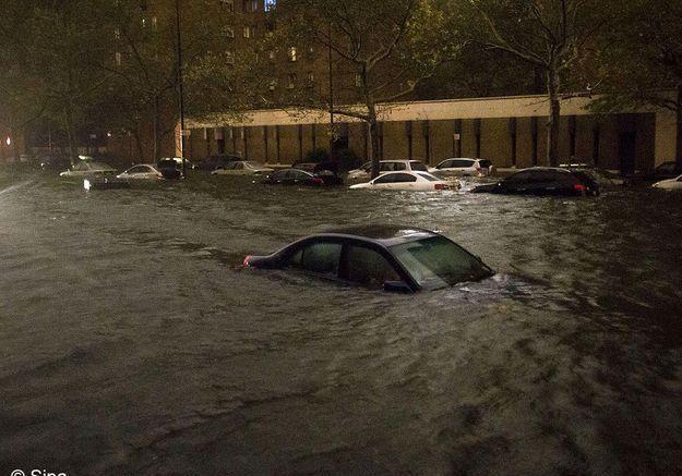 New york ouragan sandy voiture