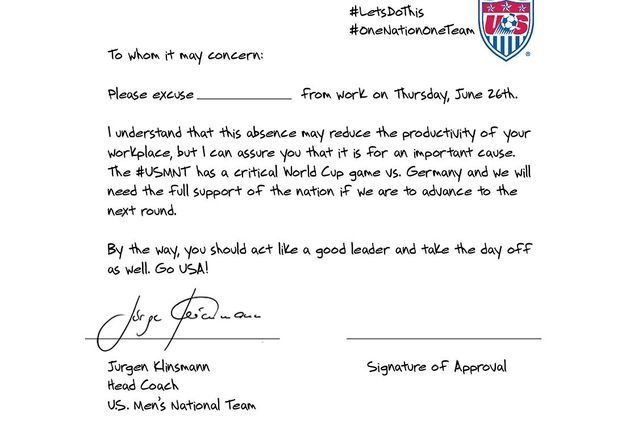 La lettre d'excuses de Jurgen Klinsmann