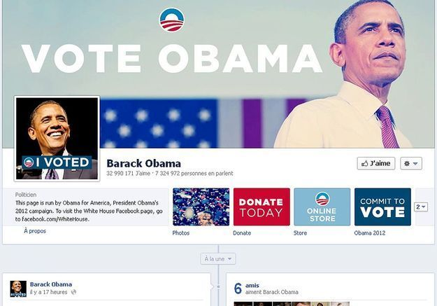 Barack Obama a 33 008 665 fans sur Facebook
