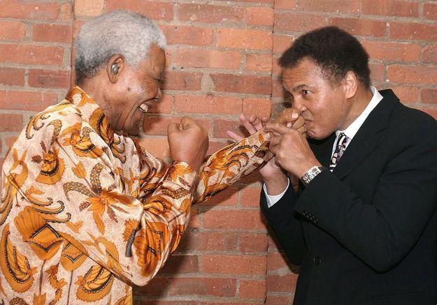 Mohammed Ali et Nelson Mandela le 12 mai 2005