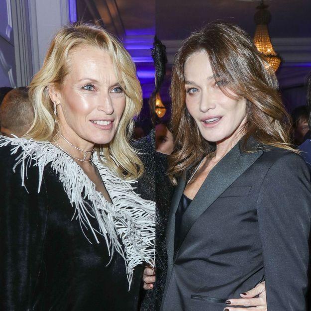 Estelle Lefébure et Carla Bruni, se retrouvent à une soirée avec la même coiffure