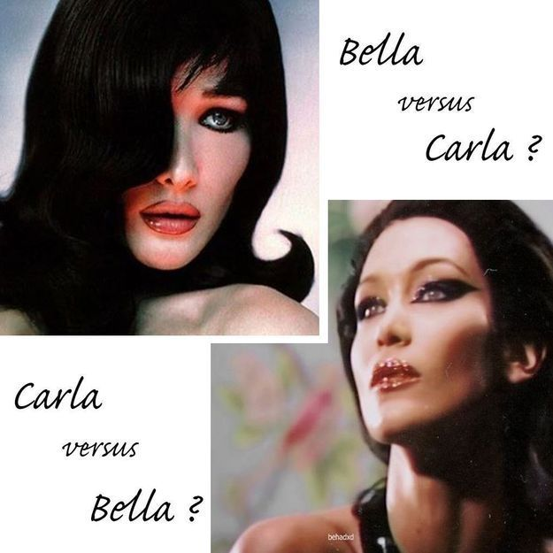 Quand Bella Hadid copie le maquillage de Carla Bruni, on ne peut plus les distinguer