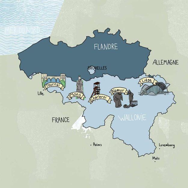 Notre carte illustrée de la Wallonie