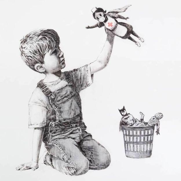Banksy : sa nouvelle œuvre en hommage aux soignants