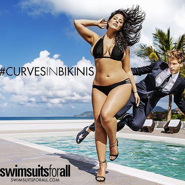 Ashley Graham, taille 46, égérie d'une marque de Bikinis