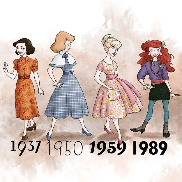 Les princesses Disney habillées à la mode de leur époque