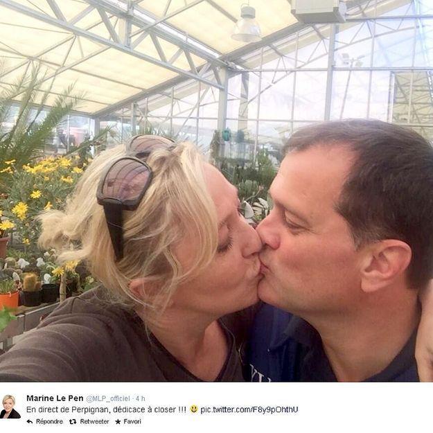 Le baiser de Marine Le Pen dans une jardinerie détourné sur Twitter