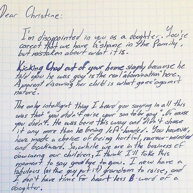 Un grand-père tacle sa fille homophobe dans une lettre