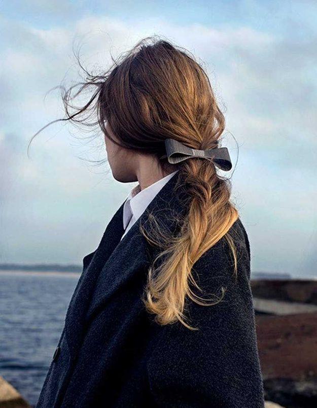 Coiffure cheveux fins nœud