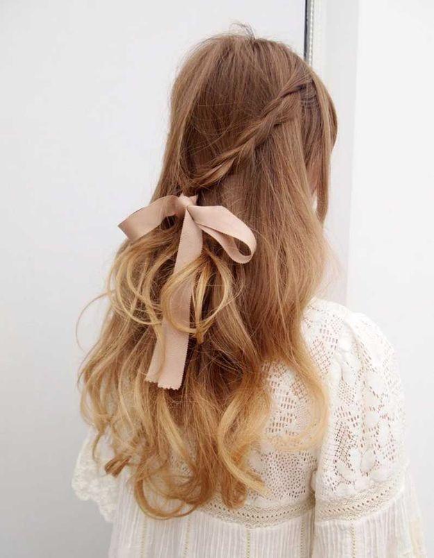 Coiffure cheveux fins ruban