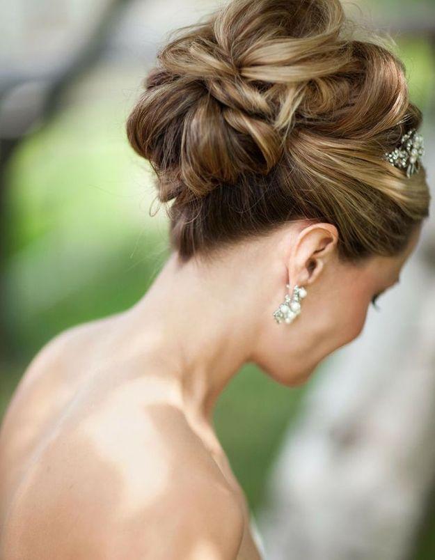 Chignon de mariée cheveux longs