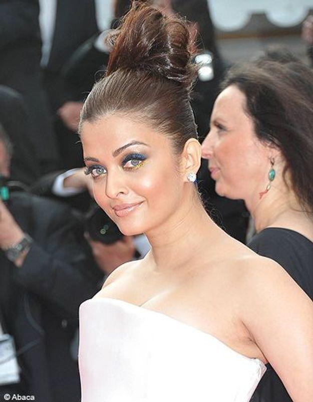 Beaute cheveux coiffure tendance chignon haut Aishwarya Rai
