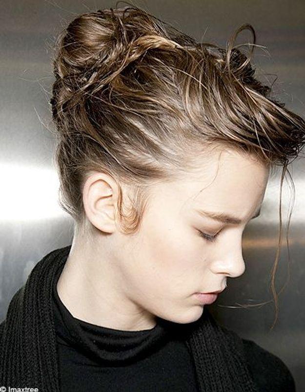 Beaute cheveux coiffure tendance chignon haut Dolce Gab